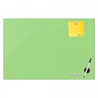 Magnetic Glass Eraser Board 16 by 16 Inches Radius Corners-Light Green