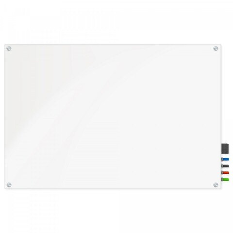 Magnetic Glass Eraser Board 36 by 48 Inches Radius Corners - White