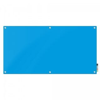 Magnetic Glass Eraser Board 48 by 72 Inches Radius Corners -Light Blue