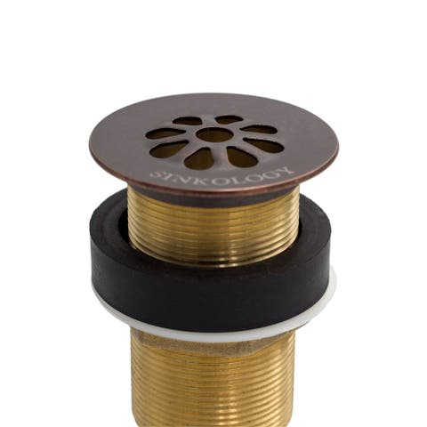Sinkology Aged Copper Bathroom Grid Drain No Overflow - 2.125 x 2.125 x 8