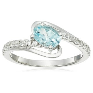 Sterling Silver Aquamarine or Tanzanite with White Topaz Ring, Size 7 - Blue