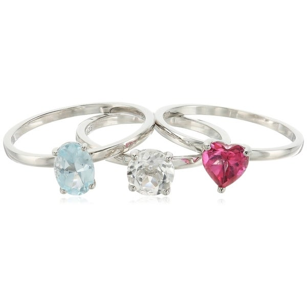 Sterling Silver Pink, Blue Topaz, Crystal set of 3 Ring, Size 7 - Pink. Opens flyout.