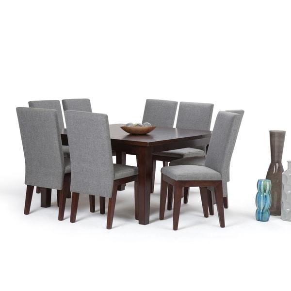 WYNDENHALL Somerville 9 Piece Dining Set in Grey Fabric