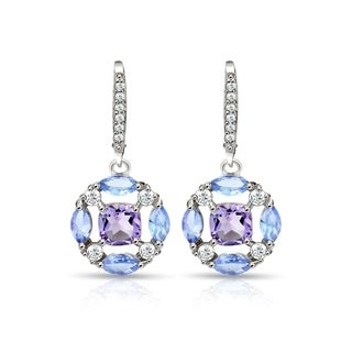 Glitzy Rocks Sterling Silver Amethyst, Tanzanite and White Topaz Circle Dangle Leverback Earrings
