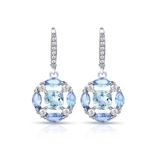 Glitzy Rocks Sterling Silver Blue Topaz, Tanzanite and White Topaz Circle Dangle Leverback Earrings