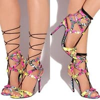 Privileged Boalt Floral Lace Up Single Sole Designer Ankle Bootie Open Sandals