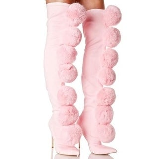 Privileged Sweet Pink Fury Pom Pom Thigh High Fitted Stretch Stiletto Boots