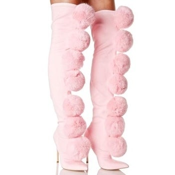 d1769993cb0 Shop Privileged Sweet Pink Fury Pom Pom Thigh High Fitted Stretch Stiletto  Boots - Free Shipping Today - Overstock - 17610737