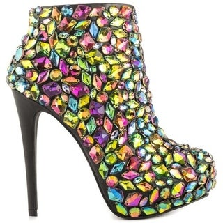 Privileged Loquat Multi Colored Stones Gems Entrance Platform Ankle Booties