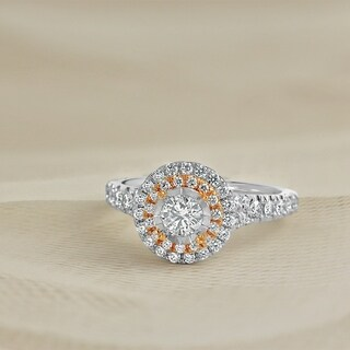 Round 1 3/5ct TDW Double Halo Diamond Engagement Ring in Two Tone 14k Gold by Auriya