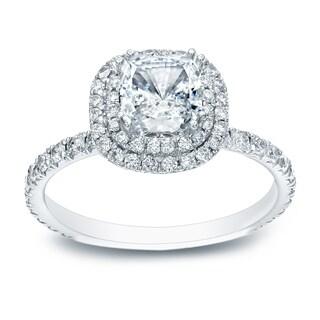 Auriya 14k Gold 1 ct TDW Cushion-Cut Diamond Double Halo Engagement Ring - White H-I