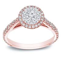 Auriya 14k White Gold 1 ct TDW Round Diamond Cluster Engagement Ring - White H-I