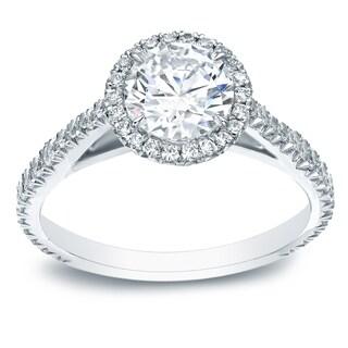 Auriya 14k Gold 1 ct TDW Round-Cut Miracle Setting Diamond Halo Engagement Ring - White H-I