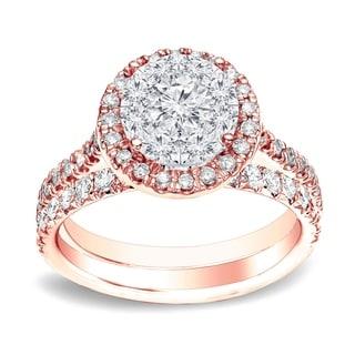 Auriya 14k Gold 3 4ctw Round Halo Diamond Engagement Ring Set White H I