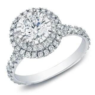 Auriya 14k Gold 1 1/2ct TDW Round Pave Diamond Halo Engagement Ring - White H-I