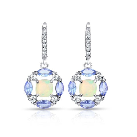 Glitzy Rocks Sterling Silver Ethiopian Opal, Tanzanite and White Topaz Circle Dangle Leverback Earrings