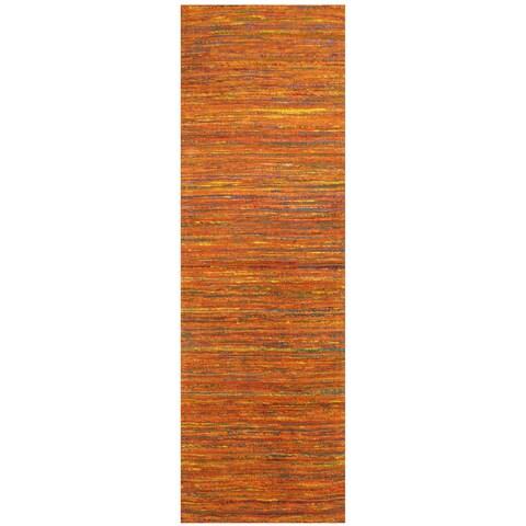 Handmade Herat Oriental Indo Chenille Flatweave Contemporary Runner - 2'8 x 8' (India)