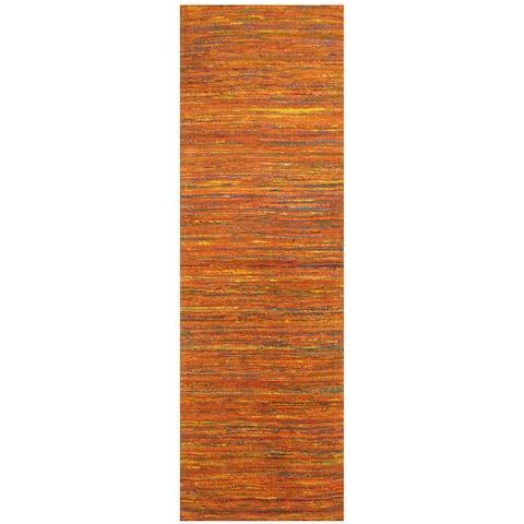 Handmade Herat Oriental Indo Chenille Flatweave Contemporary Runner (India) - 2'8 x 8'
