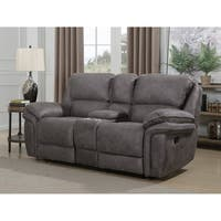 Henry Dual Lay Flat Reclining Loveseat with Storage Console, Memory Foam Seat Toppers,  USB Charging Ports and AC Power Outlets