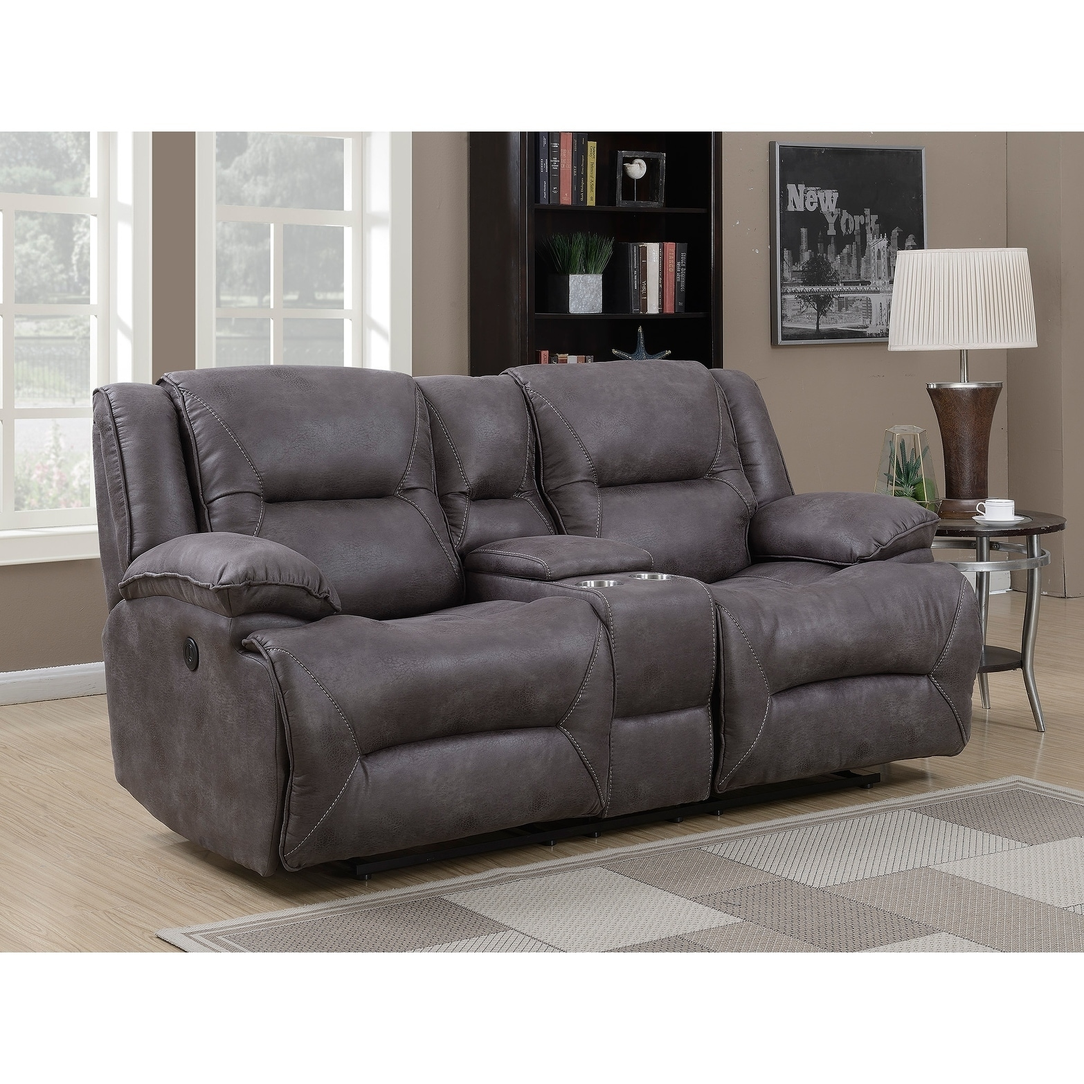 B751 Transitional Reclining Sectional With Storage Console: Dylan Dual Power Reclining Loveseat With Storage Console