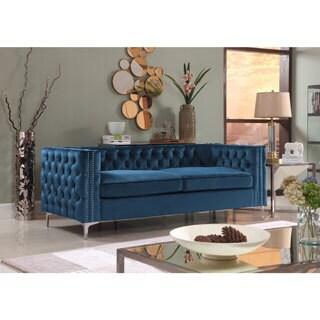Chic Home Monet Velvet Button Tufted Silver Nailhead Trim Modern Sofa