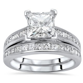 Link to 2ct Princess Cut Moissanite Center 1ct Diamond Surrounding Engagement Ring Bridal Set 14k White Gold Similar Items in Rings