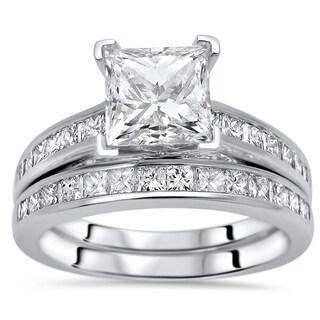 Noori 2ct Princess Cut Moissanite Center 1ct Diamond Surrounding Engagement Ring Bridal Set 14k White Gold
