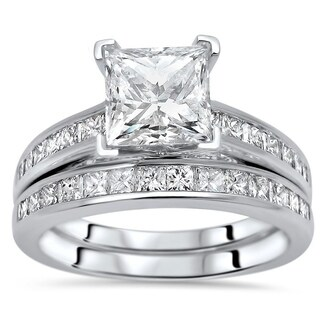 Noori 2ct Princess Cut Moissanite Center 1ct Diamond Surrounding Engagement Ring Bridal Set 14k White Gold
