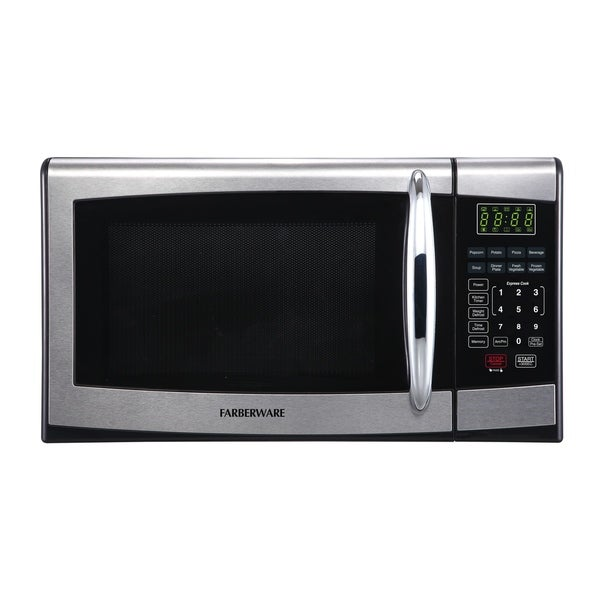 Farberware 0.9 Cubic Foot 900-Watt Microwave Oven, Stainless Steel/Black