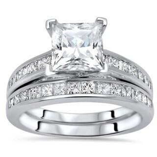Noori 1 1/4ct Princess Cut Moissanite Center 1ct Diamond Surrounding Engagement Ring Bridal Set 14k White Gold