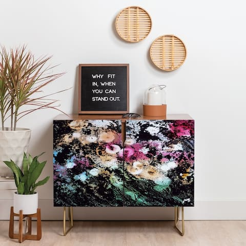 Deny Designs Blooming Black Credenza (Birch or Walnut, 2 Leg Options)