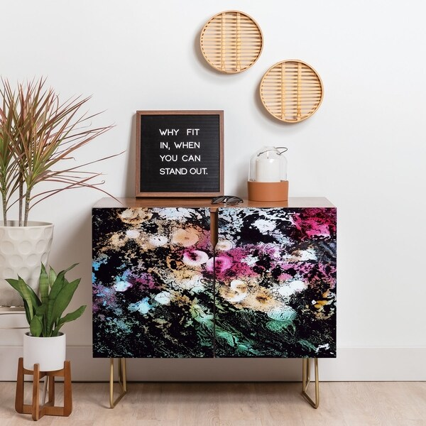 Deny Designs Blooming Black Credenza (Birch or Walnut, 2 Leg Options). Opens flyout.