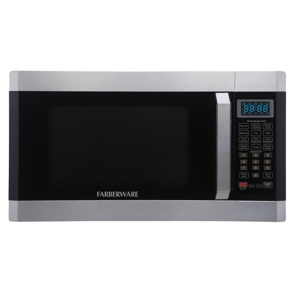 Farberware 1.6 Cubic Foot 1100-Watt Microwave with Smart Sensor, Stainless Steel/Platinum