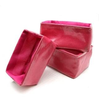 Set of 3 Linen Storage Utilities Shelf Baskets Pink Rectangular - 7.8 L x 5.4 W x 4 H
