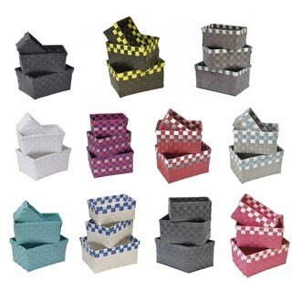 Checkered Woven Strap Storage Baskets Totes Set of 3