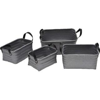 Evideco Checkered Storage Shelf Baskets with Handles Grey Set of 4