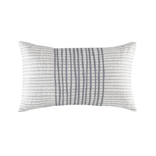 INK+IVY Bishop White/ Grey Cotton Embroidered 12 x 20-inch Oblong Pillow with Hidden Zipper Closure