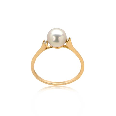 Pearl Diamond Accented set in yellow or white gold ring