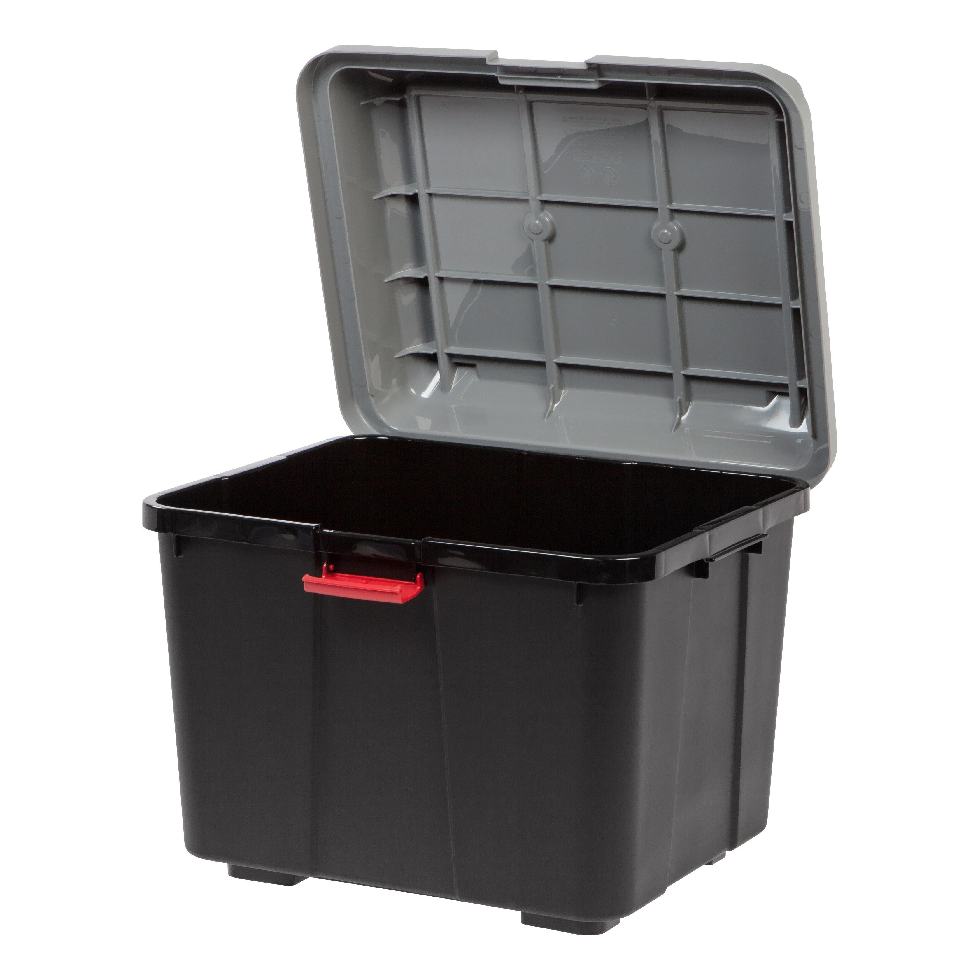 Iris Hinged Lid Utility Trunk, 4 Pack (Black) (Plastic)