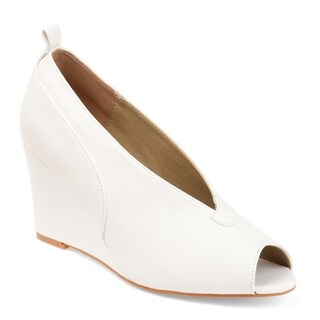 Journee Collection Women's 'Calista' Deep V-cut Peep-toe Faux Leather Wedges