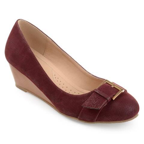 Journee Collection Women's 'Graysn' Comfort-sole Buckle Detail Wedges