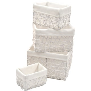 Evideco Paper Rope Storage Utilities Shelf Baskets Set of 4 (Option: White)