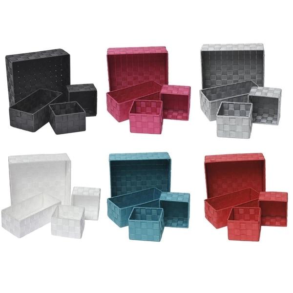 Checkered Woven Strap Storage Utilities Shelf Baskets Storage Set of 4 - 11 L x 11 W x 3.12 H