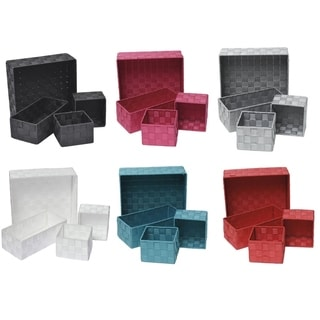 Evideco Checkered Woven Strap Shelf Baskets Set of 4