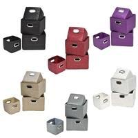 Evideco Rectangular Storage Shelf Baskets with Handles Set of 4