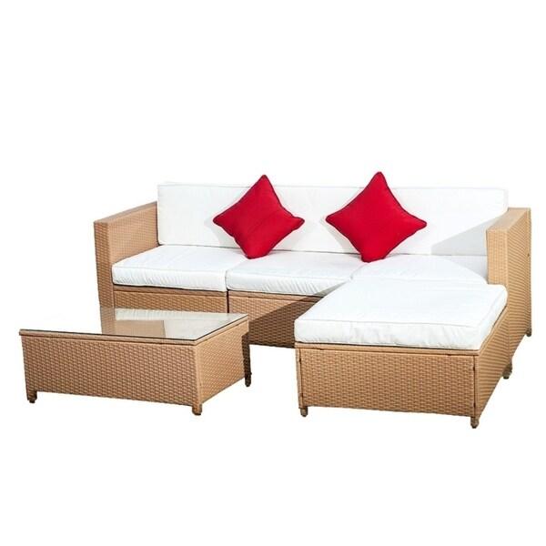 5 Piece Rattan Outdoor Patio Furniture Set
