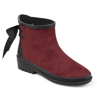Journee Collection Women's 'Burke' Bow Faux Suede Ankle Rainboots