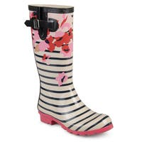 Journee Collection Women's 'Mist' Patterned Rubber Rain Boots