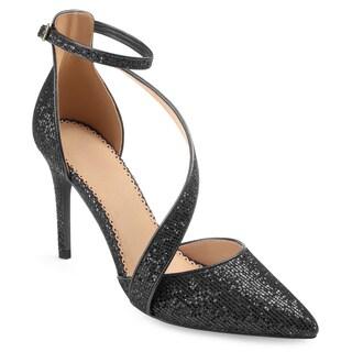 Journee Collection Women's 'Zeta' Asymmetrical Strap Pointed Toe Glitter Heels