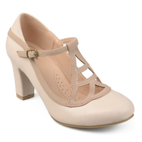 Journee Collection Women's 'Nile' Round-toe Vintage Comfort-sole Two-tone Lattice Mary Jane Pumps